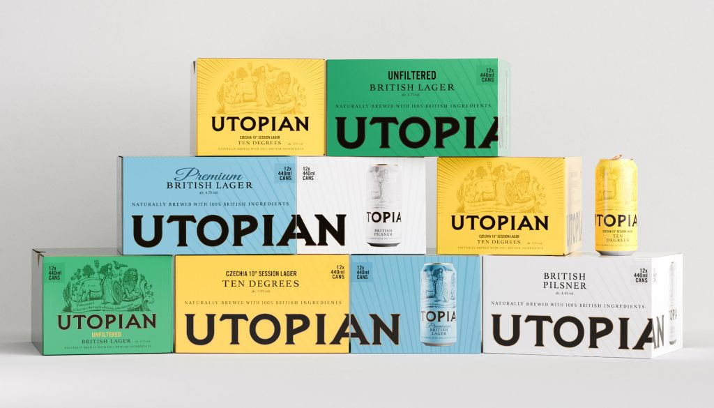 Utopian beer boxes and cans
