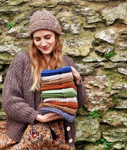 Betty Knits handmade stack of knitted beanies