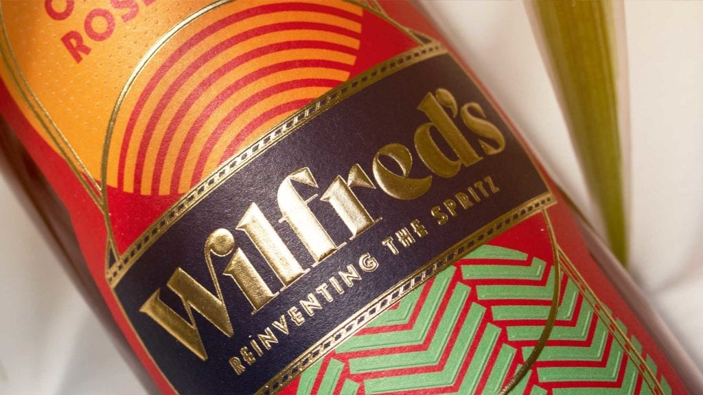Aperitif label with gold foil close up