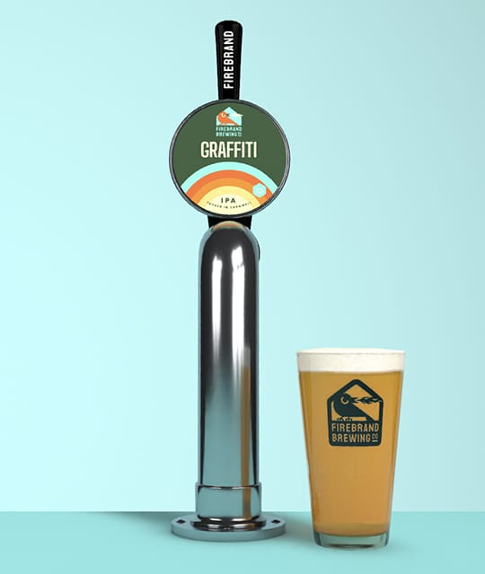 Firebrand tap and pint glass by Kingdom & Sparrow
