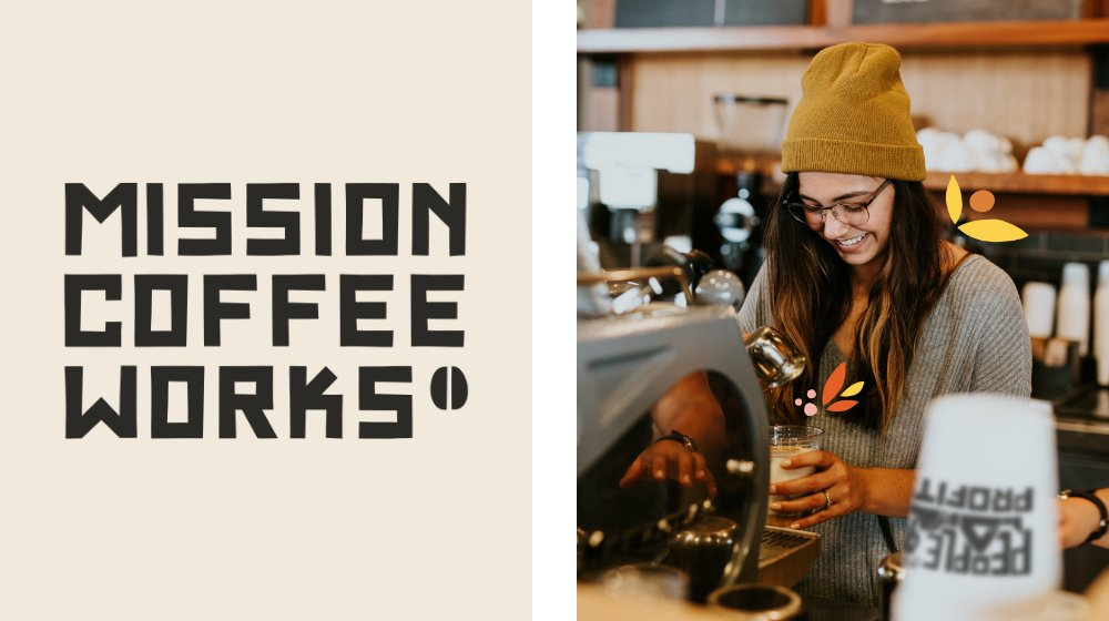 Mission Coffee Works logo and Girl in coffee shop