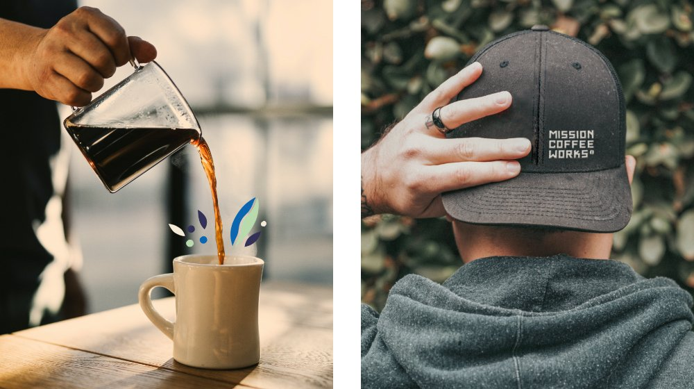 Filter coffee pour and branded cap