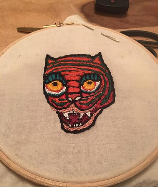 Abstract tiger emroidery