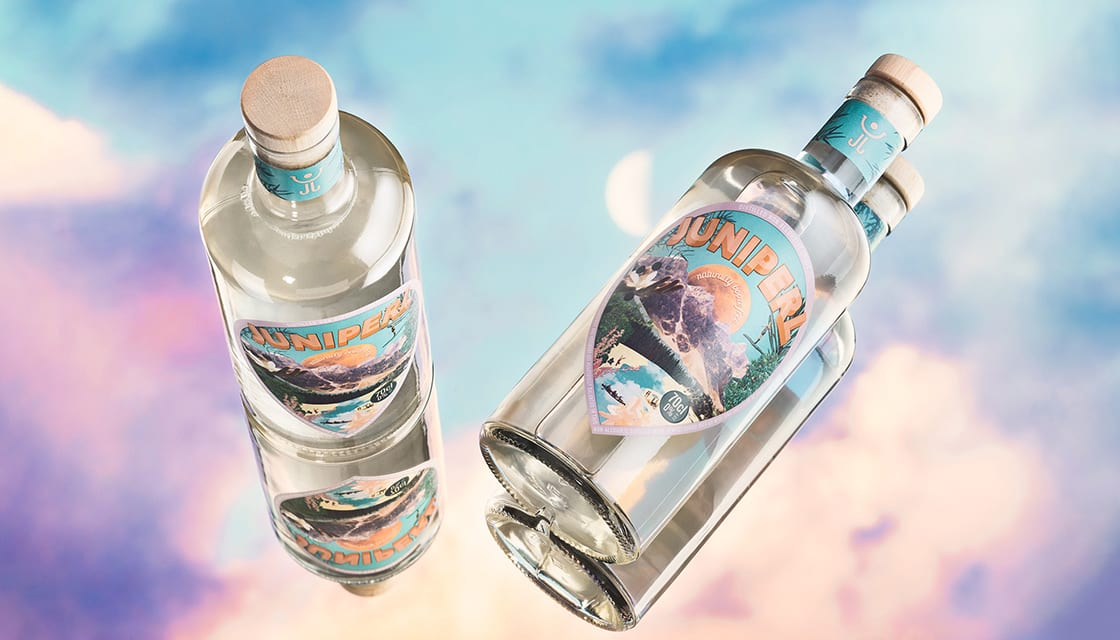 Alcohol free gin branding Juniperl by Kingdom & Sparrow
