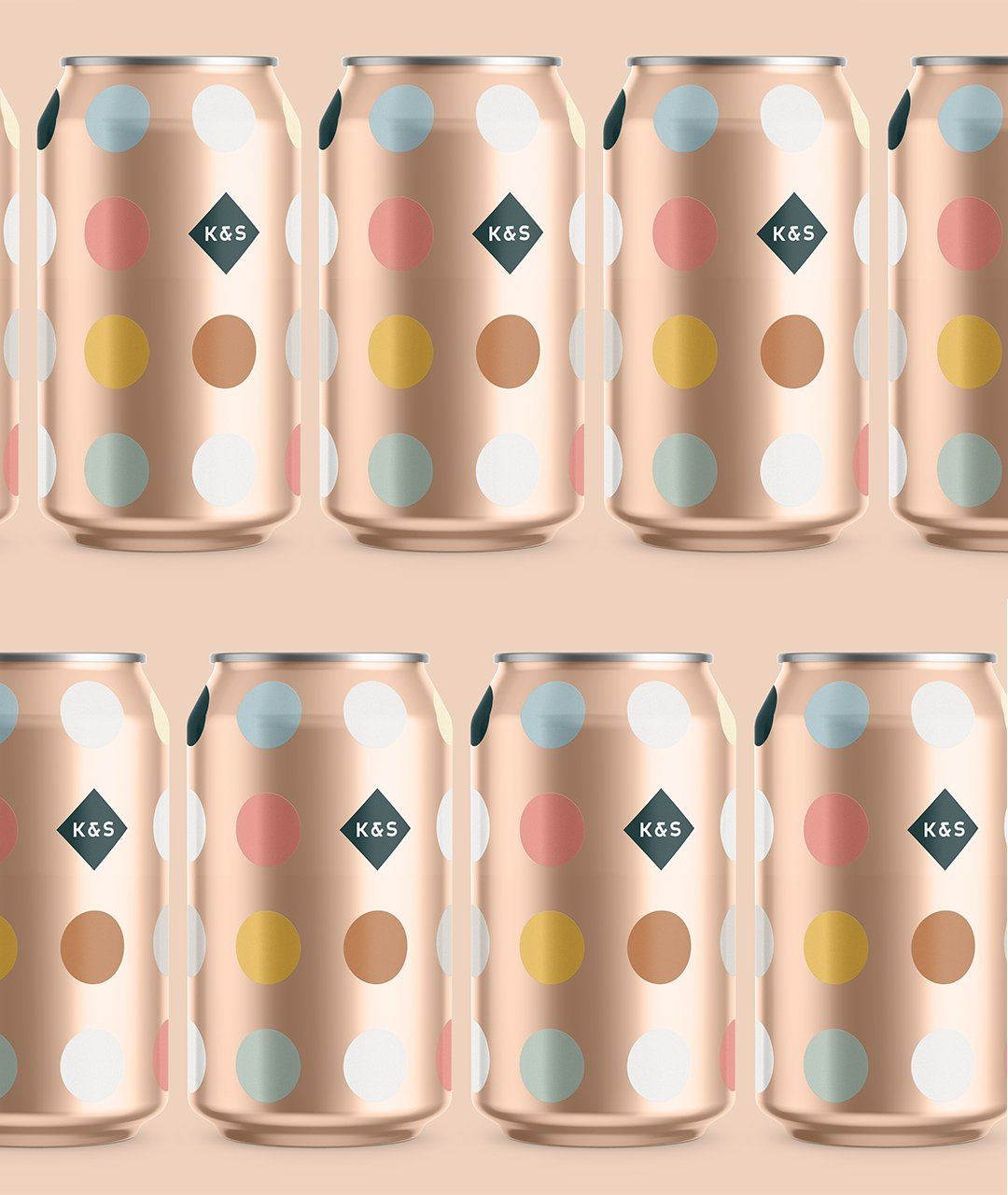 Kingdom and sparrow branded 300ml cans showcasing colour palette