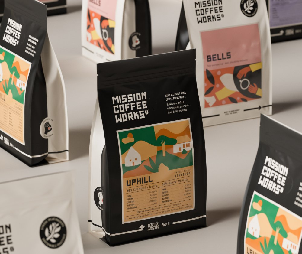 Group shot of coffee bags mobile