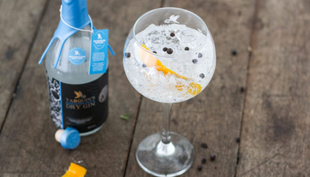 Tarquin's gin and tonic branding by Kingdom & Sparrow