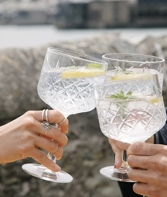 Gin and Tonic cut crystal glasses Kingdom & Sparrow