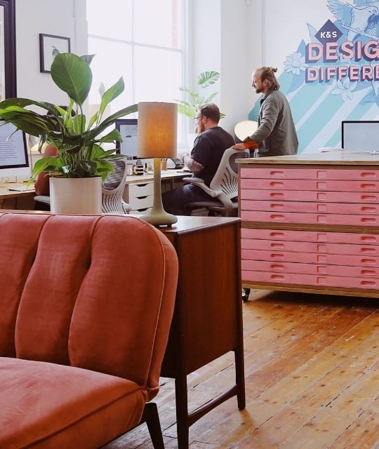 Kingdom and Sparrow team working in new office space