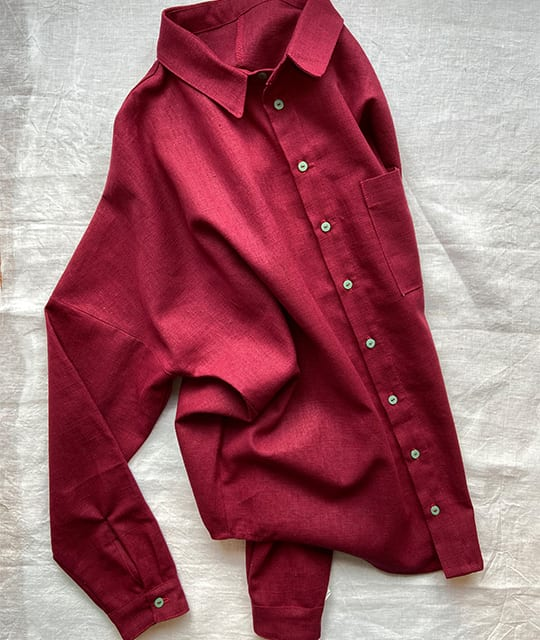 Red linen shirt with green buttons Ella Griffee