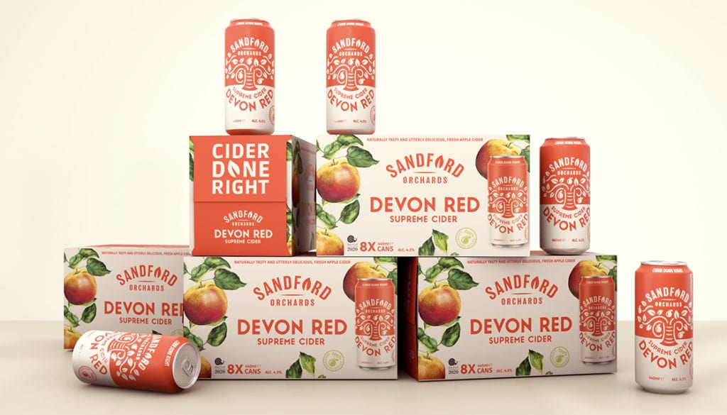 Sandford Orchards Devon Red can boxes by Kingdom & Sparrow