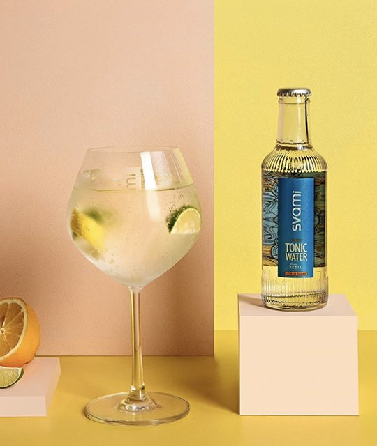 Svami tonic water bottle with gin and tonic Kingdom & Sparrow