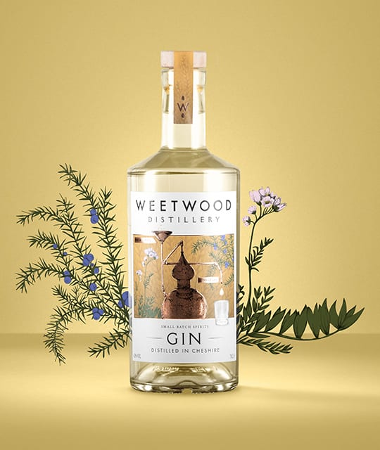 Weetwood distillery Gin label design branding by Kingdom & Sparrow