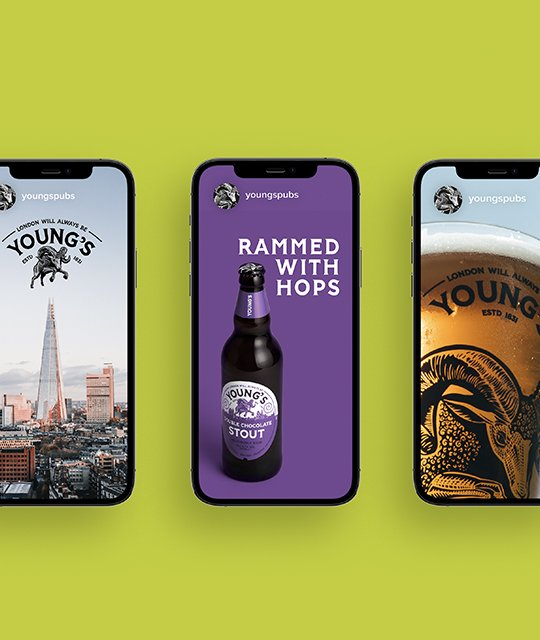 Young's Brewery Rebrand Kingdom & Sparrow Iphone Instagram story