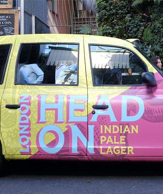 Young's Brewery Rebrand Kingdom & Sparrow Taxi Wrap