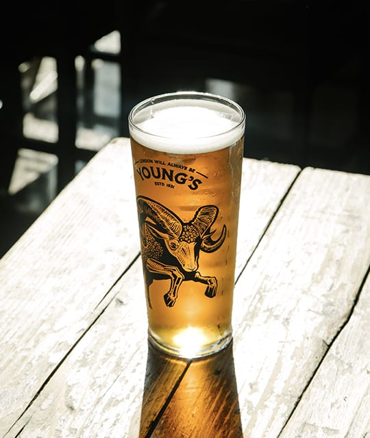 Young's Brewery Rebrand Kingdom & Sparrow pint glass