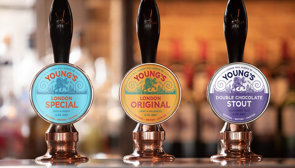 Young's Brewery Rebrand Kingdom & Sparrow Tap Handles
