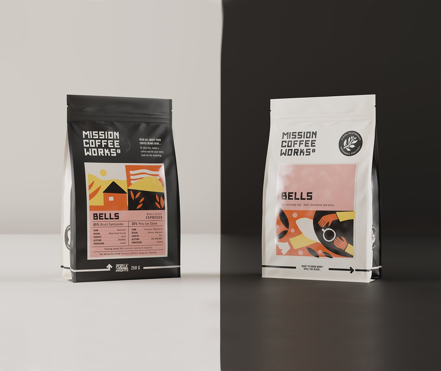 Two sides of a mission coffee bag